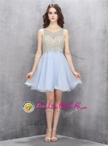 Scoop Mini Length Light Blue Evening Dress Chiffon Sleeveless Beading and Sequins