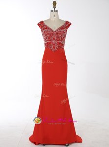 Dynamic Sequins Brush Train Mermaid Prom Evening Gown Red Scoop Chiffon Sleeveless With Train Zipper
