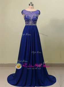 Dazzling Scoop Royal Blue Zipper Prom Gown Beading Cap Sleeves With Brush Train