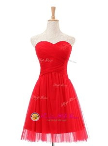 Sleeveless Knee Length Ruching Zipper Homecoming Dress with Red