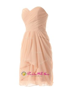 Captivating Peach Sweetheart Neckline Ruffles Prom Dresses Sleeveless Zipper