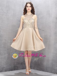 Champagne Homecoming Dress Prom and Party and For with Beading High-neck Sleeveless Criss Cross