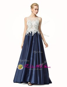 Navy Blue A-line Beading and Lace Prom Party Dress Side Zipper Satin Sleeveless