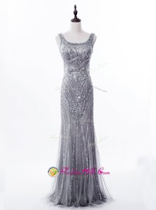 Mermaid Satin and Tulle Square Sleeveless Brush Train Zipper Beading and Sequins Prom Evening Gown in Grey