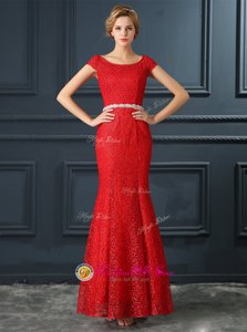 Mermaid Scoop Cap Sleeves Floor Length Lace Up Prom Dresses Red and In for Prom and Party with Beading