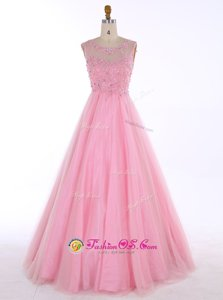 Custom Design A-line Prom Party Dress Baby Pink Scoop Satin Sleeveless Floor Length Backless