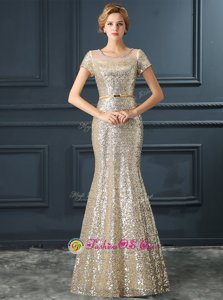 Mermaid Scoop Cap Sleeves Sequined Floor Length Zipper Red Carpet Gowns in Champagne for with Sequins and Belt