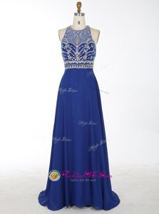 Luxury Scoop Royal Blue A-line Beading Celebrity Dresses Criss Cross Chiffon Sleeveless With Train