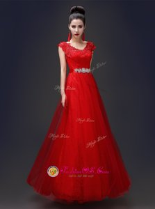 Comfortable Red Lace Up Scoop Beading and Appliques Tulle and Lace Sleeveless