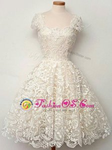 Scoop White Cap Sleeves Knee Length Lace Zipper Prom Dresses