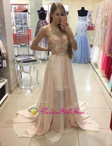 Customized Champagne Dress Like A Star Prom and For with Beading Scoop Sleeveless Brush Train Zipper