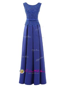 Eye-catching Scoop Sleeveless Lace and Belt Zipper Dress for Prom