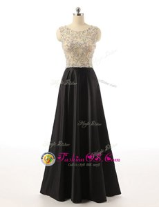 Classical Black Prom Evening Gown Prom and For with Beading Scoop Sleeveless Side Zipper