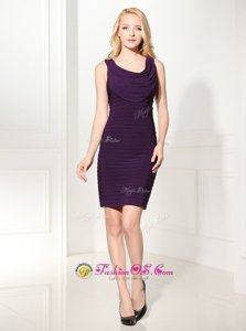 Customized Scoop Sleeveless Silk Like Satin Mini Length Zipper Homecoming Dress in Purple for with Ruffles