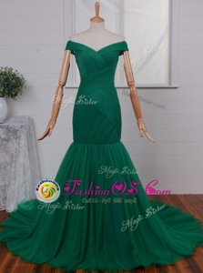 Modern Mermaid Green Zipper Off The Shoulder Ruching Red Carpet Prom Dress Tulle Sleeveless Court Train