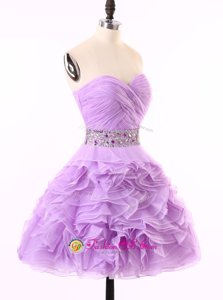 Modern Beading and Ruching Prom Evening Gown Lavender Zipper Sleeveless Mini Length