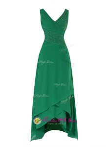 Flirting Green Zipper V-neck Beading and Ruching Prom Party Dress Chiffon Sleeveless