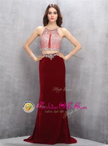 Burgundy Column/Sheath Scoop Sleeveless Silk Like Satin With Train Sweep Train Criss Cross Beading Juniors Evening Dress
