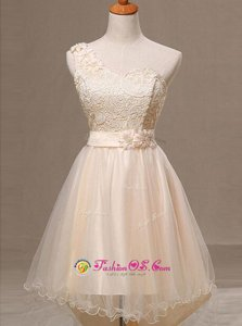 Beautiful One Shoulder Champagne Sleeveless Lace and Pleated and Hand Made Flower Knee Length Prom Dress
