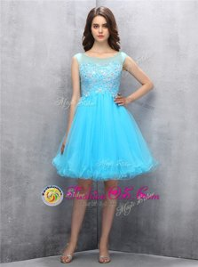 Scoop Knee Length Zipper Prom Dress Blue and In for Prom with Beading and Appliques