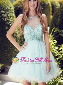 New Style Mini Length Light Blue Prom Gown Scoop Sleeveless Zipper