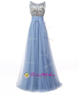 Spectacular Scoop Sleeveless Beading and Bowknot Backless