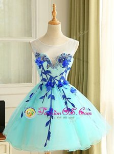 Graceful Scoop Blue Organza Zipper Prom Gown Sleeveless Mini Length Beading and Appliques