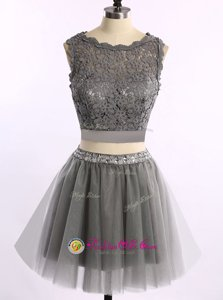 Scoop Lace Prom Party Dress Grey Zipper Sleeveless Mini Length