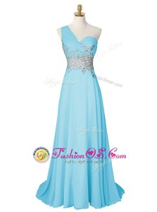 Amazing One Shoulder Aqua Blue A-line Beading Prom Party Dress Side Zipper Chiffon Sleeveless With Train