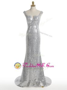 Lovely Mermaid Square Silver Sequined Zipper Dress for Prom Sleeveless With Train Sweep Train Sequins