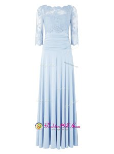 Fancy Floor Length Light Blue Prom Evening Gown Silk Like Satin 3|4 Length Sleeve Lace