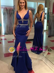 Mermaid Sleeveless Beading Backless Prom Evening Gown