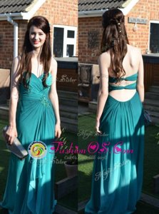 Sleeveless Floor Length Ruching Backless Prom Dress with Teal