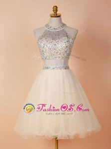 Luxurious Scoop Backless Tulle Sleeveless Knee Length Prom Gown and Beading