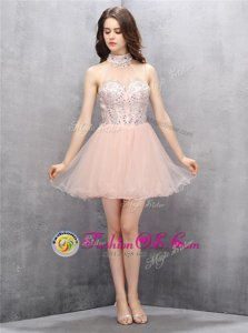 Baby Pink A-line Tulle High-neck Sleeveless Beading and Sequins Mini Length Zipper Prom Dresses