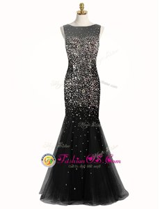 Popular Mermaid Black Zipper Bateau Beading Prom Party Dress Tulle Sleeveless