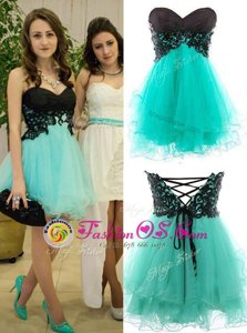 Turquoise Zipper Sweetheart Appliques Prom Dress Tulle Sleeveless
