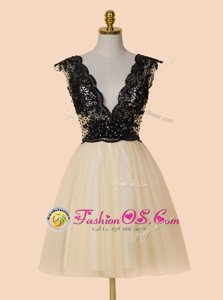 V-neck Cap Sleeves Evening Dress Knee Length Appliques and Sequins Champagne Organza