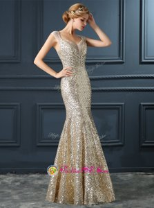 Deluxe Mermaid Floor Length Champagne Prom Gown Sequined Sleeveless Sequins