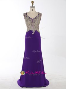 Discount Mermaid Purple V-neck Zipper Beading and Appliques Evening Dress Brush Train Sleeveless