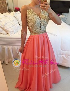 Fitting Watermelon Red A-line Chiffon V-neck Sleeveless Beading and Appliques Floor Length Backless Homecoming Dress
