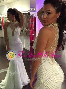 Mermaid High-neck Sleeveless Sweep Train Criss Cross Prom Evening Gown White Tulle