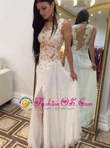 Beauteous White Scoop Zipper Appliques Prom Evening Gown Sleeveless
