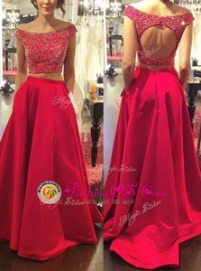 Low Price Off the Shoulder Red Sleeveless Satin Sweep Train Backless Celebrity Evening Dresses for Prom and Party