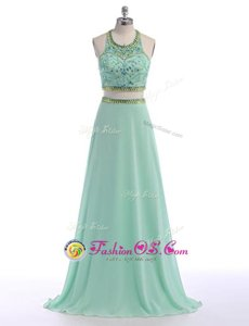 Modest Criss Cross Scoop Sleeveless Homecoming Dress With Train Sweep Train Beading Apple Green Chiffon