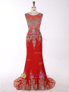 Top Selling Mermaid Scoop Red Chiffon Zipper Sleeveless With Brush Train Beading and Appliques