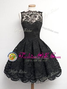 Lace Appliques Prom Evening Gown Black Zipper Sleeveless Knee Length