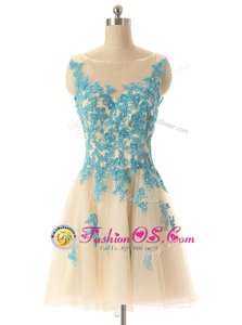 Sleeveless Mini Length Beading and Appliques Zipper Homecoming Dress with Champagne