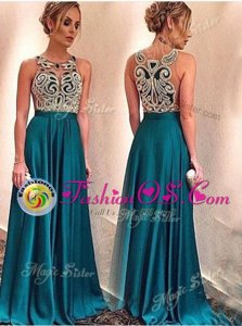 Scoop Sleeveless Floor Length Appliques Zipper Prom Gown with Teal