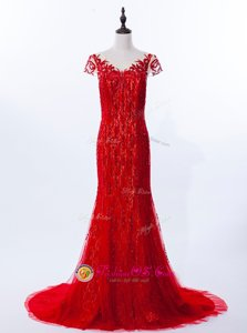 Chic Mermaid Scoop Cap Sleeves Evening Dress Brush Train Beading and Appliques Red Lace